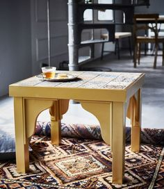 An IKEA LACK table has been hacked to have a Moroccan-inspired look.