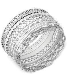 Guess Textured Bangle Bracelet Set - Silver