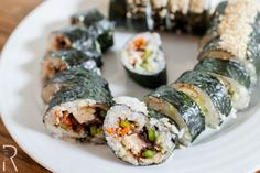 #Vegan Sushi with Cucumber, Avocado, Pickled Carrots, Panko-Crusted Tofu and sour Cherry jam