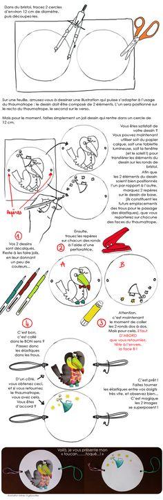illusion d'optique DIY enfant : fabriquer un thaumatrope (un jeu d'optique !) - Loisirs créatifs