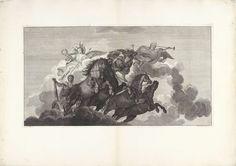 Bernard Picart   Hercules stijgt in een rijtuig op naar de Olympus, Bernard Picart, 1719   Onder begeleiding van Minerva stijgt Hercules in een wagen, getrokken door vier paarden, op naar de Olympus. Op de wolken zitten Victoria, met een lauwerkrans voor de held, en Faam, die de loftrompet blaast. Prent maakt deel uit van een serie prenten, die samen het geschilderde plafond met de Apotheose van Hercules in het Hôtel Lambert te Parijs voorstellen.