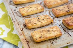 Baked Italian Herb Tofu - worked with just 10 min marinade and 30 mins bake time. Want to try an Asian marinade next time Tofu Recipes, Vegetarian Recipes, Cooking Recipes, Healthy Recipes, Tofu Dishes, Vegan Main Dishes, Roasted Tofu Recipe, Tofu Marinade, How To Press Tofu