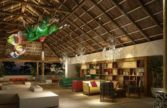 Arrive into the tastefully decorated lobby area at Secrets Papagayo.