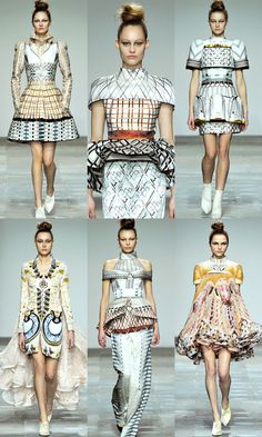 "Mary Katrantzou Fall 2012 Collection  ""... she wanted to use waves of colors taken from things you use in everyday life,...old-fashioned typewriters, telephone dials, hangers, pens and pencils."
