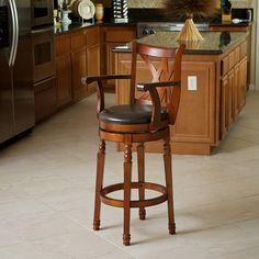 Luxury Cherry Finish 360° Swivel Leather Seat Bar Stool w Arms Backrest   eBay