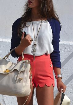 red scalloped shorts