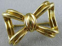 ESTATE LARGE DESIGNER TIFFANY & Co 18K YELLOW GOLD OPEN BOW PIN PENDANT #S1284.2 - http://elegant.designerjewelrygalleria.com/tiffany/estate-large-designer-tiffany-co-18k-yellow-gold-open-bow-pin-pendant-s1284-2/