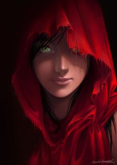 Anime Art :: Anime Little Red Riding Hood:- i love how this image almost reminds me of the famous one that is natural discovery i believe magazine of the girl with the deep green eyes- The red of her cloak here and the eyes really make it stand out.