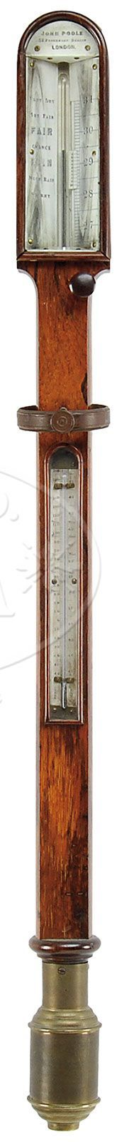 FINE ROSEWOOD STICK BAROMETER ON GIMBAL.