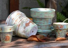 Distressed Clay Pots using candle wax and paint