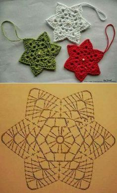 Snowflake ornaments (Christmas, red, green, white)