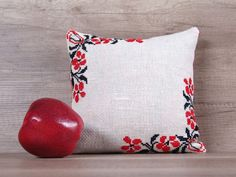 Flowers cross-stitch embroidery needlework country style handmade decorative pillow cover, housewarming gift for her 10 x 10 (27 x 27 cm)