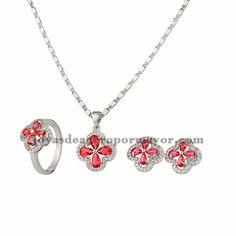 juego de collar y aretes y anillo de flor con cristal de plateado para…