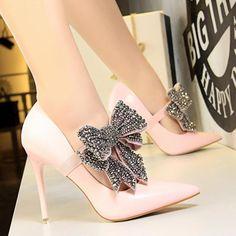 Pink Wedding Shoes, Bridal Shoes, Pink Pumps, Women's Pumps, Stilettos, Tie Heels, Shoes Heels, Korean Fashion Summer Casual, Super High Heels