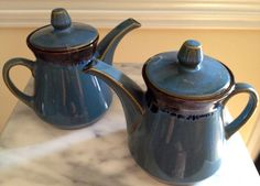 Blue  Drip Art Pottery Teapot by TheFlyingHostess on Etsy, $14.50
