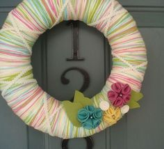 Yarn Wreath Felt Handmade Door Decoration - Candy Mix 12in