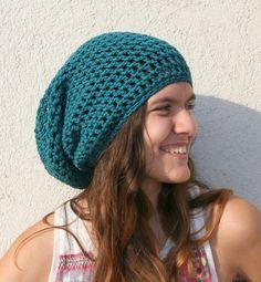 Slouchy Beanie Slouch Hats Oversized Hat Green      by EllenaKnits, $46.00
