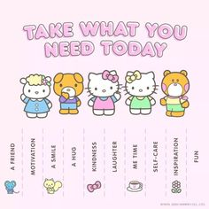 Hello Kitty Items, Sanrio Hello Kitty, Take What You Need, Age Regression, Hello Kitty Wallpaper, Sanrio Wallpaper, Cute Messages, Self Care Activities, Sanrio Characters