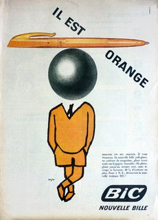 The Bic logo—you see it every day, but never really look at it. Here's how the Bic boy came to be. Vintage Advertising Posters, Vintage Advertisements, Vintage Ads, Vintage Posters, Bic Pens, Ballpoint Pen, Old Pub, Poster Ads, Libros