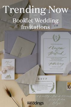 A new wedding trend we are loving are these 25 wedding invitation booklets. They are perfect invites that will add that create personalized touch to your big day. You can hint at your wedding color palette as well as your theme for any wedding season! Box Wedding Invitations, Wedding Boxes, Wedding Stationary, Wedding Paper, Invites, Wedding Trends, Wedding Ideas, Booklet Design, Gold Foil Print