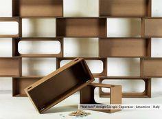 LESSMORE /// Libreria modulare MATTONI (cartone o legno) Collezione Ecodesign / design Giorgio Caporaso,  design 2010, ano di produzione 2014