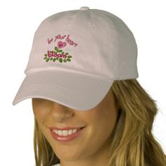 Embroidered pink Love Bloom Baseball Cap