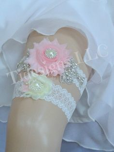 Pink/Blush Wedding Garter Set Ivory Garter Rhinestone by TIdesigns