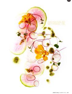 Radish salad with basil oil