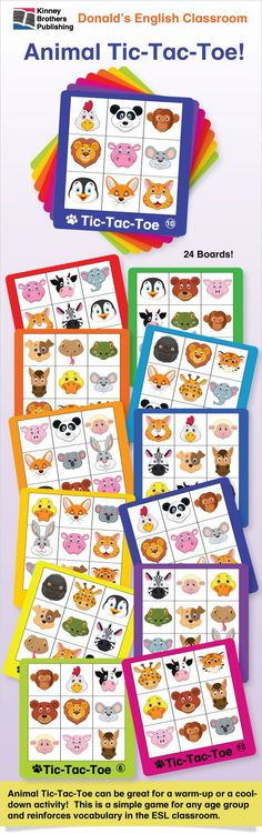 Animal Tic-Tac-Toe is a kid-friendly and colorful set of 24 Animal Tic-Tac-Toe game boards!  Remember, Tic-Tac-Toe is an excellent vocabulary review your students will want to play again and again!  Great as a warmup activity, in student centers, for early finishers, or just to have fun!  Enjoy  $1.75 on TpT  #EFL #ESL #ELL