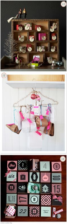 I love the hanger and the tiny wrapped gifts in the top one!