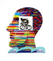David Gerstein Signed Sculpture - Head With Cyclist