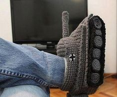Mens Tank Slippers Crochet Pattern. Might have to make these for my brother even if he doesn't want them.