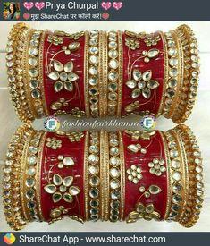 Chuda Bangles, Kundan Bangles, Bridal Bangles, Bridal Jewelry, Gold Jewelry, Indian Jewelry Sets, Indian Wedding Jewelry, Bridal Chuda, Rajputi Jewellery