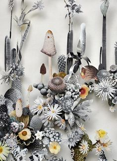 Dutch artist Anne ten Donkelaar creates gorgeously intricate 3D floral masterpieces from unique discoveries including flowers, butterfly wings and twigs.