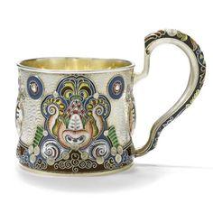 Fabergé's silver, emanel and plique-à-jour tea glass holder    Date circa 1910