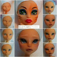 Toralei Stripe custom ooak repaint monster high art doll by skeriosities Monster High Art, Monster High Custom, Monster High Repaint, Doll Repaint Tutorial, Doll Tutorial, Ooak Dolls, Art Dolls, Ever After Dolls, Barbie Makeup