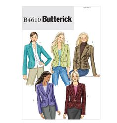 Butterick Sewing Pattern 4610 Misses Size Easy Fitted Lined Princess Seam Jacket Easy Sewing Patterns, Mccalls Patterns, Clothing Patterns, Sewing Ideas, Pattern Sewing, Sewing Tips, Sewing Crafts, White Suits, Jacket Pattern