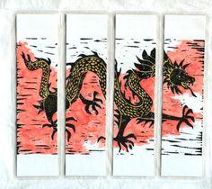 Watercolor Chinese dragon laminated original art by ruthsartwork