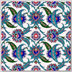 Continuous Floral Pattern Wall Tiles for kitchen or bathroom Turkish Tiles, Turkish Art, Islamic Tiles, Islamic Art, Ceramic Wall Tiles, Tile Art, Motif Floral, Floral Wall, Patterned Wall Tiles