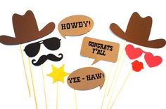 For my next Texas themed party. Photo Booth Props  The Western Wedding Collection by TheManicMoose, $28.00