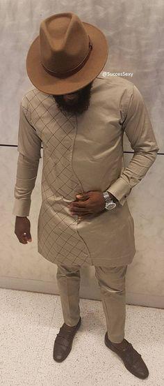 SuccesSexy Men's African Wear Beige Suit African Print