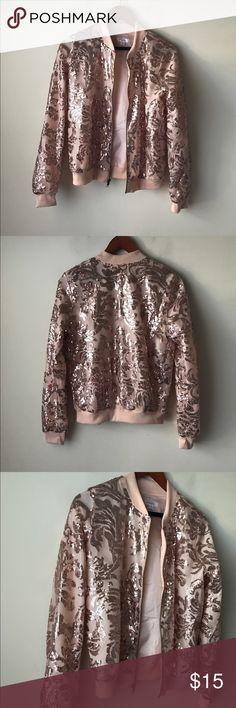 Xhilaration blush pink sequin bomber jacket Blush pink bomber style jacket - ribbed cuffs and hem - zipped closure - sequin embellished - lined - new without tags! - size S Xhilaration Jackets & Coats