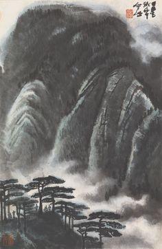 Landscape Prints, Watercolor Landscape, Landscape Art, Landscape Paintings, Chinese Brush, Chinese Art, Japanese Drawings, Chinese Landscape, Chinese Painting