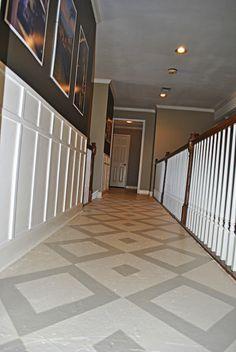 Diamond-Pattern Painted Plywood Floor
