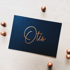 Fin and Stip customized design: dark blue stylish birth announcement with copper foil -