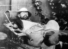 French painter Henri de Toulouse-Lautrec (1864-1901) having siesta, photo by Alfred Natanson c. 1895