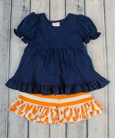 Another great find on #zulily! Navy Top & Orange Ruffle Shorts - Infant, Toddler & Girls #zulilyfinds