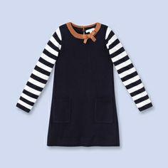 Graphic jersey dress - Girl - NAVY/NATURAL - Jacadi Paris