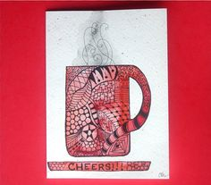 Watercolor card, (No.85),  Greeting card, watercolor, abstract, Zentangle, coffee cup, tea cup, CHEERS, zentangle art, OOAK