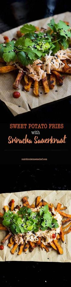 Spicy sweet potato fries with sriracha sauerkraut, finished with coriander(cilantro) and sesame seeds!